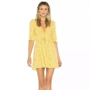 NEW For Love & Lemons REVOLVE Eyelet Dress Yellow